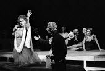 The Hero Rises Up by John Arden and Margaretta D'Arcy Roundhouse Theatre London 1968. Bettina Jonic as Emma and John Preston as Hamilton - Patrick Eagar - 03-11-1968