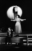 The Hero Rises Up by John Arden and Margaretta D'Arcy Roundhouse Theatre London 1968. Caracciolo dummy hanging Henry Woolf as Nelson and Bettina Jonic as Emma - Patrick Eagar - 03-11-1968