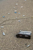 Detroit, USA. Discarded nitrous oxide cannisters littering the streets in southwest Detroit. Also called Laughing gas, the drug, when inhaled, gives a quick but brief high - Jim West - 12-08-2020
