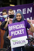 Amina Patel, UNISON Tower Hamlets council workers strike against Tower Rewards, a contract imposing worse terms and conditions, Whitechapel, London. - Jess Hurd - 17-08-2020