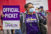 UNISON Tower Hamlets council workers strike against Tower Rewards, a contract imposing worse terms and conditions, Whitechapel, London. - Jess Hurd - 17-08-2020