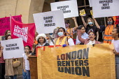 London Renters Union protest for eviction ban extension, Stratford Magistrates Court. They also want rent debt to be cancelled and the scrapping no fault evictions. Newham, East London. - Jess Hurd - 24-08-2020