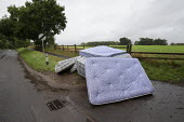 Mattresses dumped by the roadside, country lane, Charlecote, Warwickshire - John Harris - 25-08-2020