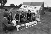 Greenham Common womens peace camp, 1984, No More Hiroshimas protest against US cruise missiles at the RAF base, on the anniversary of the dropping of the Hiroshima bomb. Newbury - Katalin Arkell - 06-08-1984