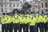 Police preparing to stop Citizens Assembly Extinction Rebellion protest using Coronavirus Legislation, Trafalgar Square, Westminster, London - Jess Hurd - 05-09-2020