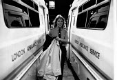 London 1989, Ambulance worker Hazel Standing returning to base at 10pm at the end of her shift - Melanie Friend - 18-10-1989