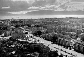View of the port city of Vlora, Albania. 1990. Little traffic owing to the ban on private cars - Melanie Friend - 16-04-1990