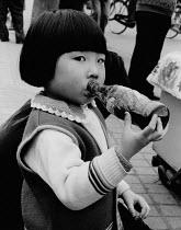 China, 1986.Small girl drinking bottled soft drink, Chengu, Sichuan Province - Melanie Friend - 21-03-1986