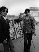 Beijing China 1986 Young men selling sunglasses, Free Market stall - Melanie Friend - 18-04-1986