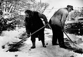 Workers clearing snow from the pavement, central Sofia, Bulgaria 1989 - Melanie Friend - 22-11-1989