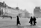 Early morning mist, Knyaz Alexksandar, Sofia, Bulgaria 1989, Crossing the square near Natural HIstory Museum (L) and The Grand Hotel (R) - Melanie Friend - 30-11-1989