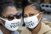 Detroit, USA. Young voters wearing Freakin Vote! masks. Friday Rally near the elections department office. - Jim West - 02-10-2020