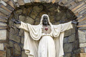 Detroit, USA Statue of a black Jesus, Sacred Heart Major Seminary. Made of white stone in 1957, the statue's face, hands, and feet were painted black by unknown persons during Detroit's 1967 uprising.... - Jim West - 06-10-2020