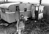 RAF Molesworth Peace Camp 1984 Peace protester Chris Moon, victim of radiation sickness, outisde his caravan, Molesworth peace camp, RAF Molesworth, Northamptonshire - Melanie Friend - 16-12-1984