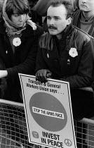 TGWU members CND Rally, Hyde Park, London 1985. Anti nuclear weapons protest - Melanie Friend - 26-10-1985