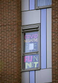 Covid-19 signs in the windows, Bristol University halls. Students in lockdown, The Courtrooms. Hundreds of students have tested positive for coronavirus - Paul Box - 13-10-2020