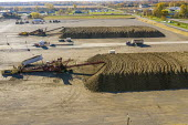 USA- The Michigan Sugar Company, Sugar beet harvest piled up awaiting processing at the . The company is a farmer owned cooperative which makes about 1.1 billion pounds of sugar each year - Jim West - 28-10-2020