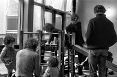 Men and babies, creche, First National Women's Liberation Conference, Ruskin College, Oxford 1970 - Sally Fraser - 27-02-1970