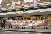 Spycops Protest, Undercover Policing Inquiry, Amba Hotel where proceedings will be live streamed, Central London. Bring down the Spycops Inquiry's Brick Wall of Silence - Jess Hurd - 11-11-2020