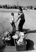 Boys collecting garbage, Beach refugee camp, Gaza Strip, 1991 for recycling - Melanie Friend - 27-10-1991