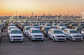 Detroit, USA, New cars waiting to be shipped, Fiat Chrysler Jefferson North Assembly Plant. Dodge Durango and Jeep Grand Cherokee vehicles - Jim West - 14-11-2020
