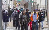 Detroit, USA. Postal workers walking to the main post office. - Jim West - 17-11-2020