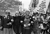 WAPC protest against pit closures, London 1993. Women Against Pit Closures protest against Pit Closures. Maureen Exley, Ann Clwyd MP - Peter Arkell - 01-02-1993