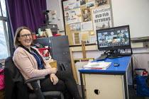 Kerri Sellens, Assistant Head weekly online staff briefing, Lansbury Lawrence Primary School during Covid pandemic lockdown, Poplar, East London. - Jess Hurd - 27-11-2020