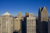 Detroit, USA. Office tower blocks and flags - Jim West - 29-11-2020