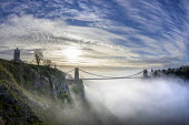Clifton suspension bridge in fog, Clifton, Bristol. Morning mist surrounding the bridge spanning the Avon Gorge and the River Avon. A Grade I listed structure by Isambard Kingdom Brunel. Clifton Obser... - Paul Box - 22-11-2020