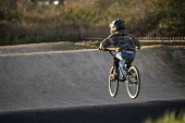 Autistic boy riding Lawrence Weston BMX track, Bristol - Paul Box - 05-12-2020