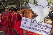 Oaxaca, Mexico: Triqui unity rally, central square. The area of western Oaxaca where they live is one of the poorest regions of Mexico. Many Triquis have been forced through poverty and violence to le... - Jim West - 02-02-2020