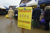 Maintain a Safe Social Distance sign, Friday Market, Stratford upon Avon, Warwickshire - John Harris - 18-12-2020
