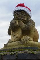 Gargoyle in a Christmas hat, Stratford upon Avon, Warwickshire - John Harris - 24-12-2020