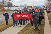 Detroit, USA No Evictions! protest the pre Christmas eviction of a single mother and her three children. Police helped the landlord evict Whithey Burney after she refused the landlords sexual advances... - Jim West - 16-01-2021
