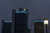 Detroit, USA New General Motors logo, GM headquarters, Renaissance Center. The company says the logo symbolises its move towards making electric vehicles. - Jim West - 16-01-2021