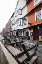 Bars and pubs closed due to Covid 19 lockdown King street, Bristol. Unused tables upturned - Paul Box - 06-01-2021