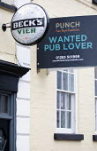 Pub up Lease, Hotwells, Bristol. Punch, Wanted Pub Lover sign. Punch Pubs & Co is a pub and bar operator in the United Kingdom, with around 1,300 leased pubs - Paul Box - 06-01-2021