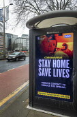 Stay home, Save lives bus stop lockdown NHS advertisement, Broadmead, Bristol. Reduce Contact To Reduce The Spread, public health message - Paul Box - 12-01-2021
