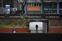 Man walking through The Bear Pit underpass, Broadmead, Bristol. - Paul Box - 12-01-2021