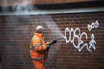 Council worker removing graffiti, Bristol - Paul Box - 20-01-2021