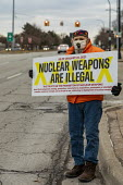 Detroit, USA: Prohibition of Nuclear Weapons Treaty protest. Nuclear Weapons Are Illegal. Peace activists protest for the USA to sign the TPNW. Fifty one nations - not including the USA or other nucle... - Jim West - 22-01-2021