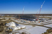 Detroit, USA - Construction of Amazon Distribution Center, Michigan State Fairgrounds. The 3.8 million square foot $400 million distribution center will be the largest Amazon facility in Michigan. The... - Jim West - 29-01-2021