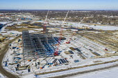 Detroit, USA - Construction of Amazon Distribution Center, Michigan State Fairgrounds. The 3.8 million square foot $400 million distribution center will be the largest Amazon facility in Michigan. - Jim West - 29-01-2021
