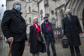 Shrewsbury 24 appeal hearing, legal team and pickets, Royal Courts of Justice, London. (L to R) Terry Renshaw, Eileen Turnbull, Harry Chadwick, Mark Turnbull - Jess Hurd - 03-02-2021