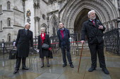 Shrewsbury 24 appeal hearing, legal team and pickets, Royal Courts of Justice, London. (L to R) Mark Turnbull, Eileen Turnbull, Harry Chadwick, Terry Renshaw - Jess Hurd - 03-02-2021