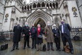 Shrewsbury 24 appeal hearing, legal team and pickets, Royal Courts of Justice, London. (L to R) Mark Turnbull, Terry Renshaw, Harry Chadwick, Eileen Turnbull, John McKinsie Jones with wife Rita McKins... - Jess Hurd - 03-02-2021