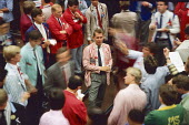 Traders dealing, 1986, London International Financial Futures and Options Exchange, Royal Exchange building, The City of London - Martin Mayer - 01-10-1986