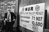 Jimmy Knapp NUR Political fund ballot result 1986 press conference London HQ on the result of the union ballot to keep the political fund, which unions collect for the Labour Party. - NLA - 23-08-1986