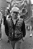 Terry French Kent NUM with miners strike badges, 1986 Nottinghamshire Miners Gala, Mansfield. Kent Area banner - NLA - 06-08-1986